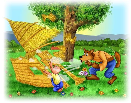 Three-Little-Pigs straw house