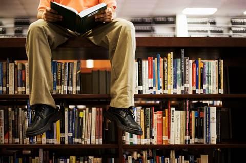 reading room- man on shelf